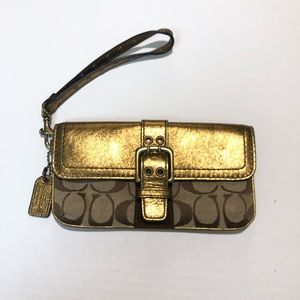 Coach Gold Lemay signature wristlet